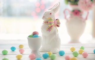 Easter bunny and eggs in a London house
