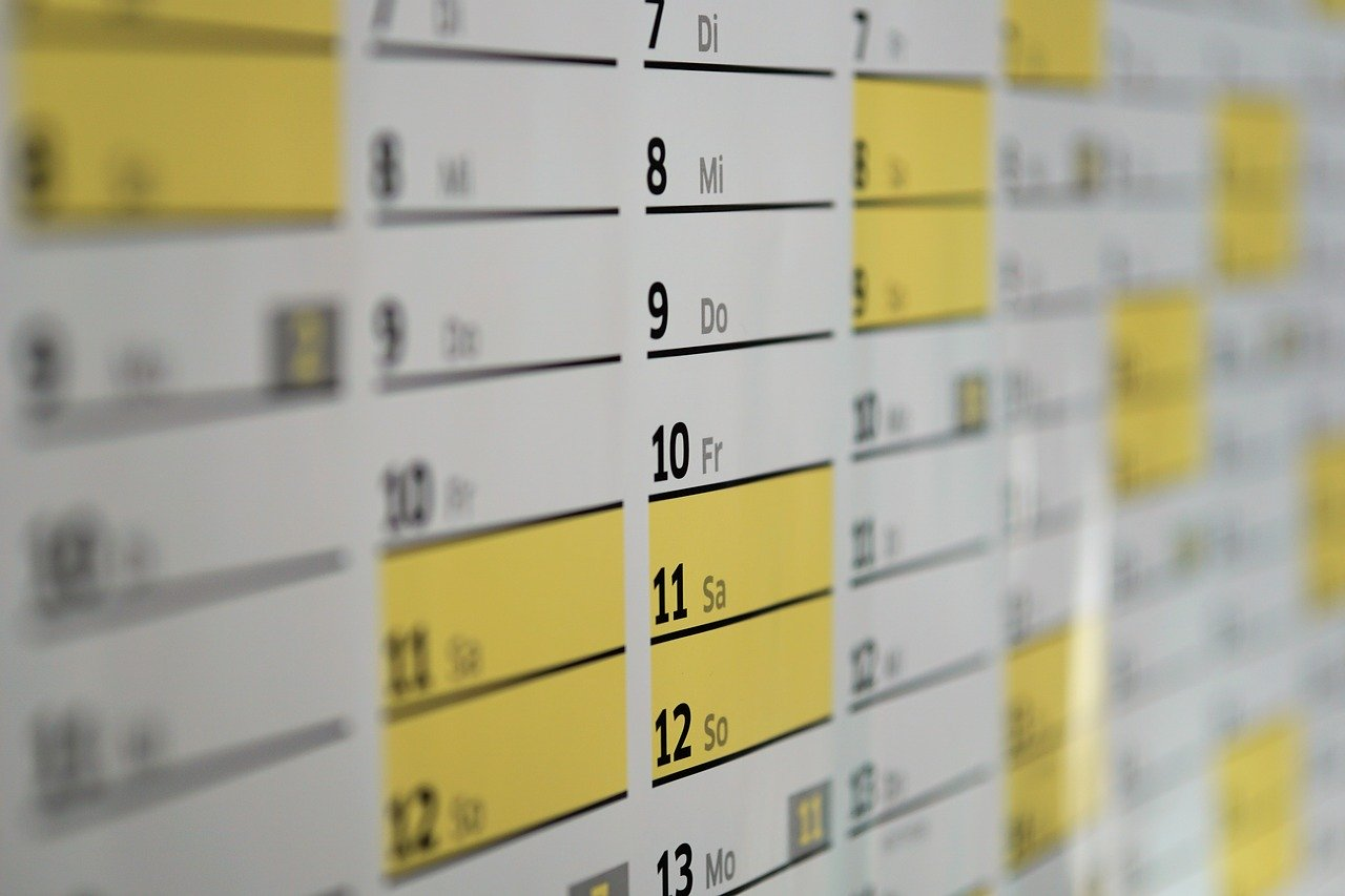 home cleaning calendar