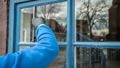 window cleaning in a London house