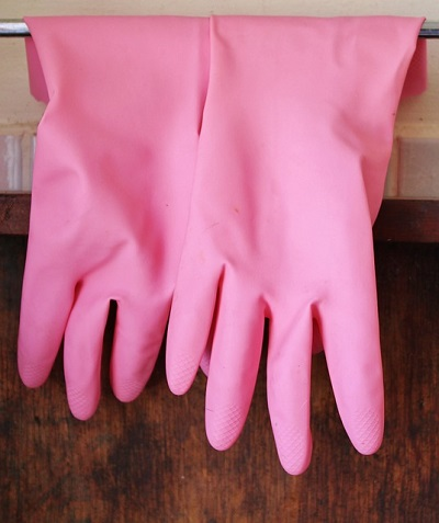 pink rubber gloves